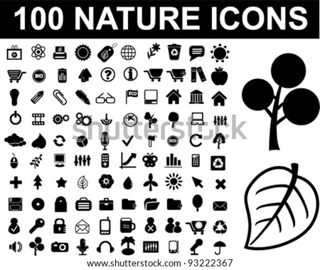 100 nature icons set, vector