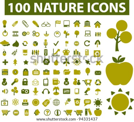 100 nature icons set  vector