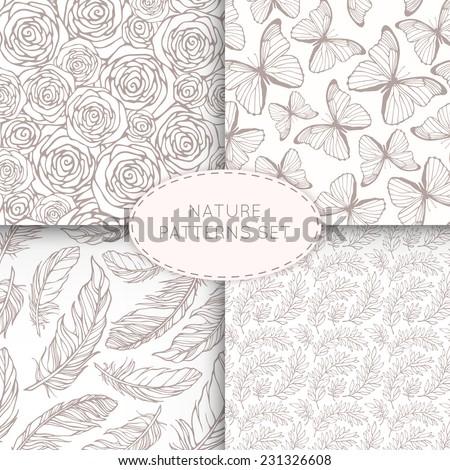 4 nature seamless patterns set