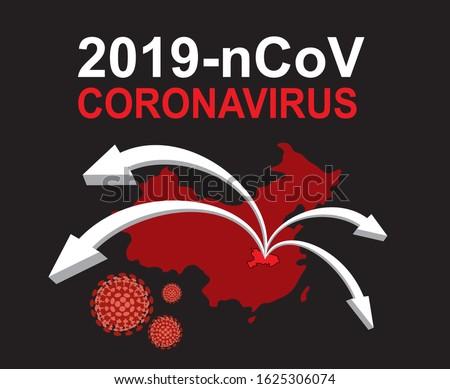 2019-nCoV. China pathogen respiratory coronavirus 2019-nCoV. Flu spreading of world, China map, arrows, floating influenza virus cells. Dangerous chinese ncov corona virus, SARS pandemic risk alert