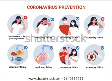 2019-nCoV covid-19 virus protection tips. Coronovirus alert. Prevention infographics. Set of isolated vector illustration in cartoon style