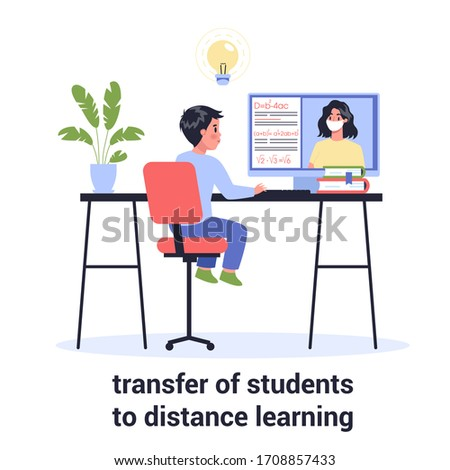 2019-nCoV, pandemic global impact. Students studying at home. Distance learning, online education classes for children during coronavirus. Isolated flat vector illustration