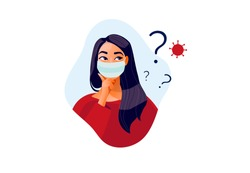 2019-ncov quarantine. Sad woman in protective mask . Thinking girl. Doubts, problems, thoughts, emotions. Curious woman questioning, question mark. Vector illustration. Coronavirus panic.