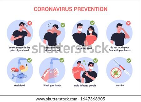 2019-nCoV virus protection tips. Coronovirus alert. Prevention infographics. Set of isolated vector illustration in cartoon style Stock photo ©