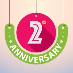 2nd Anniversary - Colorful Badge, Paper cut-out