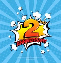 2nd anniversary emblem. Two years anniversary celebration symbol