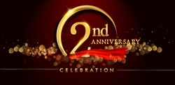 2nd anniversary logo with golden ring, confetti and red ribbon isolated on elegant black background, sparkle, vector design for greeting card and invitation card