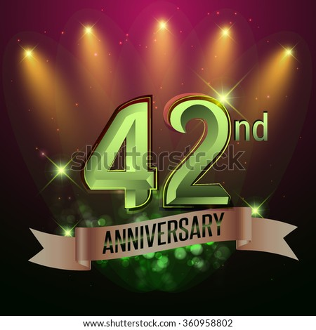 42nd Anniversary, Party poster, banner or invitation - background glowing element. Vector Illustration. #360958802