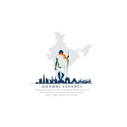 2nd October- gandhi jayanti vector  illustration.