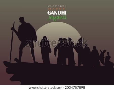 2nd October Mahatma Gandhi birthday celebration.vector illustration.