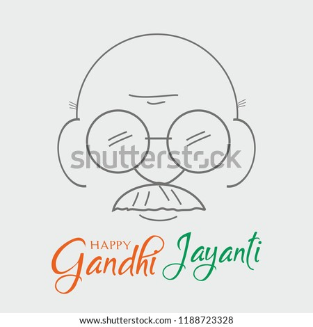 2nd October Mahatma Gandhi jayanti sketch vector