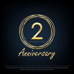 2nd years anniversary celebration emblem. elegance golden anniversary logo isolated with rings on black background, vector illustration template design for web, flyers, greeting card & invitation card