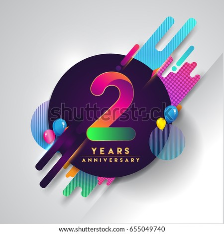 2nd years Anniversary logo with colorful abstract background, vector design template elements for invitation card and poster two years birthday celebration