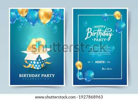 42nd years birthday vector invitation double card. Forty two years wedding anniversary celebration brochure. Template of invitational for print on blue background Stockfoto ©