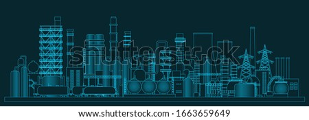 Іndustrial panorama view. Vector illustration of abstract manufacturing landscape. Dark blue background stock photo