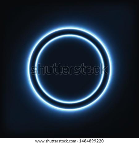 Neon circle glowing. Design. Interior. Advertising. Element.