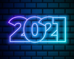 2021 Neon Text. 2021 New Year Design template. Light Banner. Vector Illustration. New Year sign in neon design on brick wall background