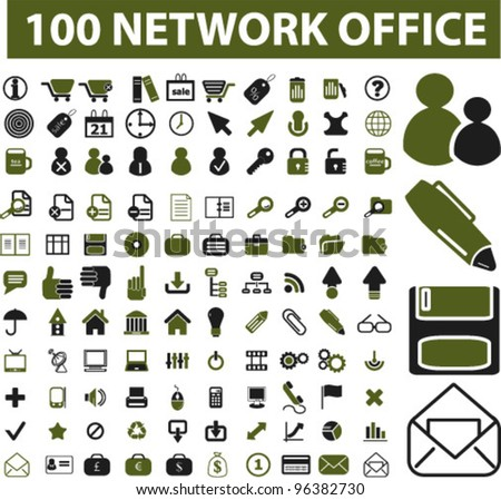 100 network office icons set, vector