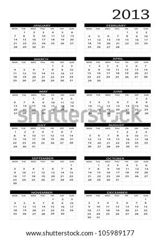 2013 new calendar in english