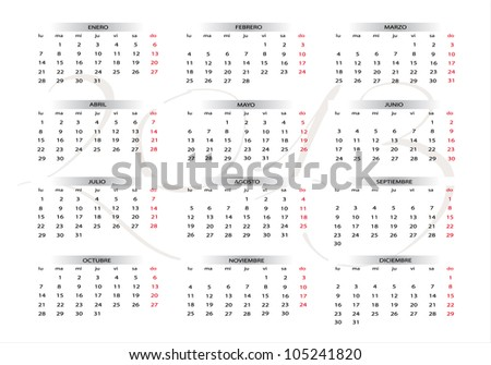 2013 new calendar in spanish