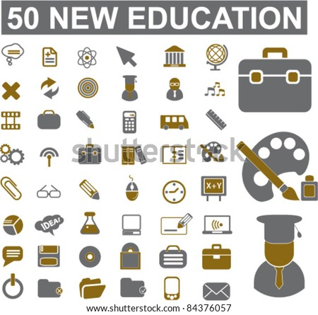 50 new education icons, signs, vector illustration set