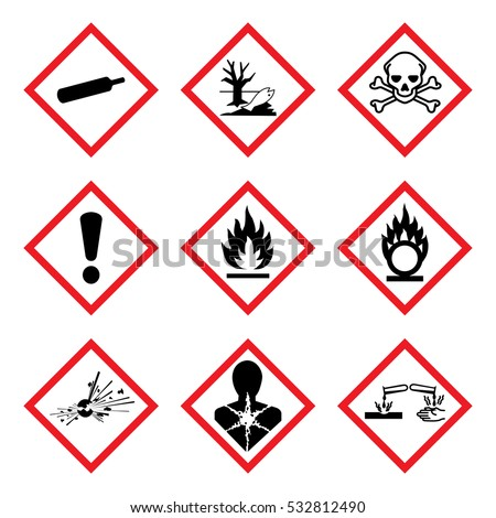 9 New Hazard Pictogram. Hazard warning sign, isolated vector illustration