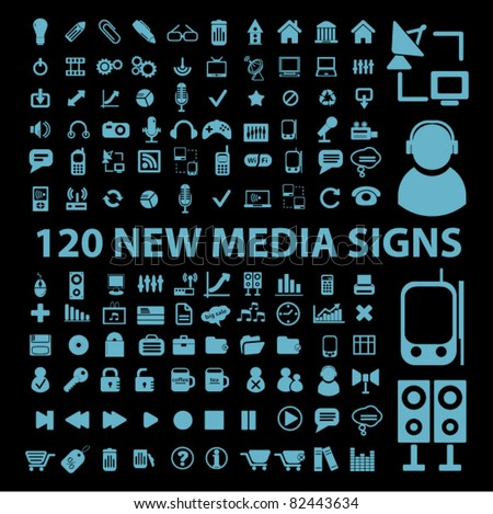 120 new media blue icons, signs, vector illustrations