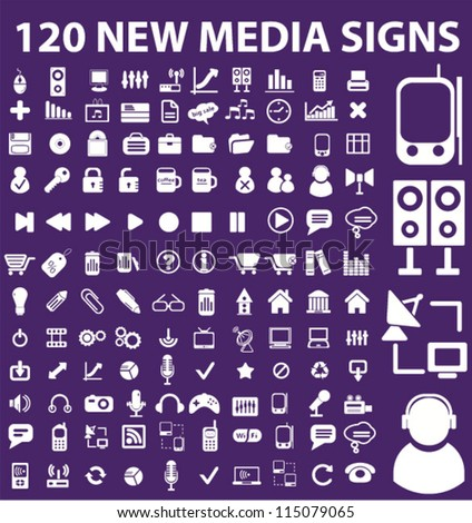 120 new media icons set, vector