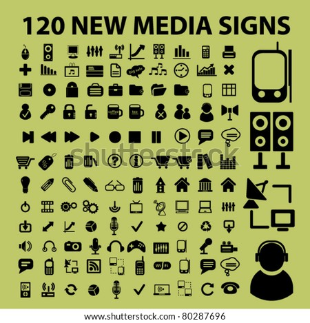 120 new media icons, signs, vector - stock vector