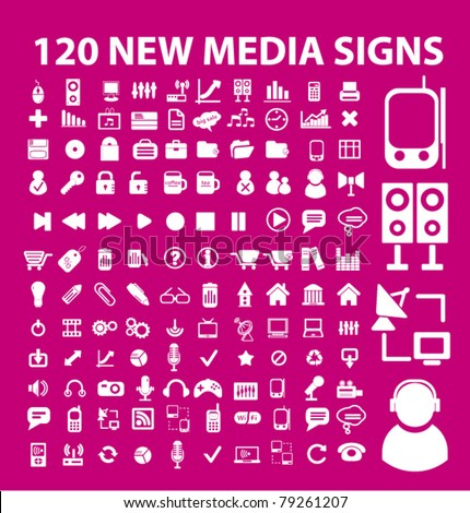 120 new media icons, signs, vector illustration
