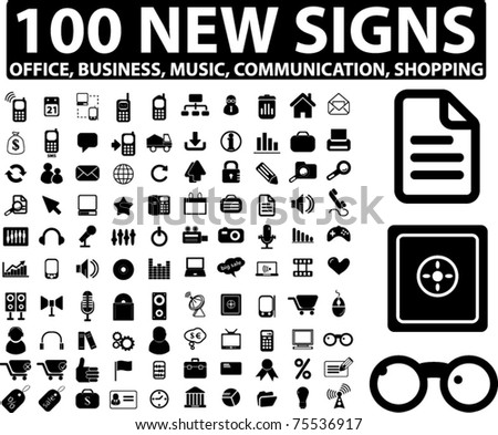 100 new signs, vector - stock vector
