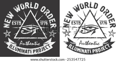 'New world order' artworks for t-shirt and poster.All seeing eye of Horus in a triangle.