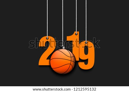 2019 New Year and basketball ball as a Christmas decorations hanging on strings. 2019 hang on cords on an isolated black background. Design pattern for greeting card. Vector illustration