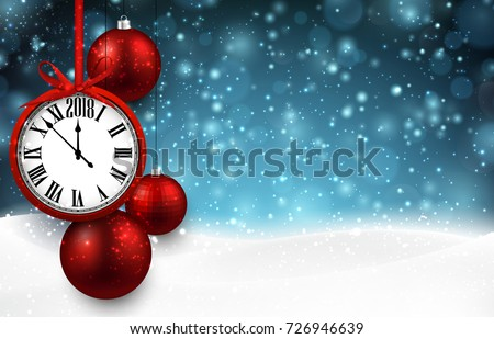 2018 New Year background with clock and Christmas balls. Vector illustration.