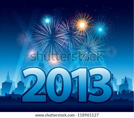 2013 New Year background with fireworks EPS 10