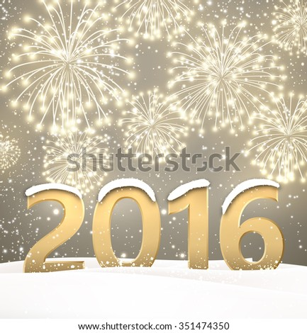 2016 New Year background with fireworks. Vector paper illustration. #351474350
