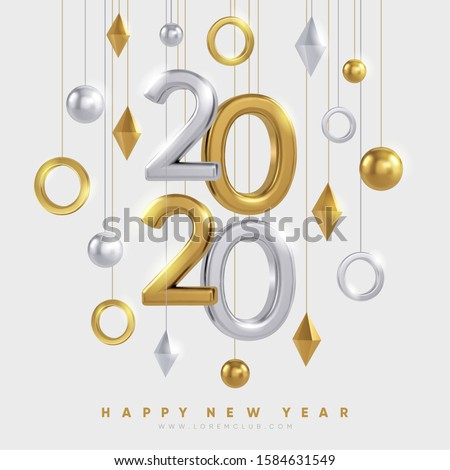 2020 New Year banner design. Gold and silver 3d shapes and 2020 numbers on light background. Winter holidays background design. Eps10 vector.