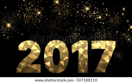 2017 New Year black and golden background. Vector illustration. #507188110