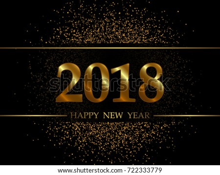 2018 new year black background with gold glitter confetti festive premium design template for holiday