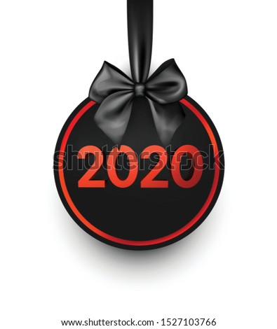 2020 New Year black ball of Christmas ball with satin bow. Greeting card or decoration. Winter decoration - Vector