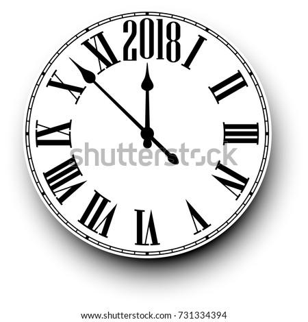 2018 New Year black clock on white. Vector paper illustration.