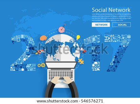 2017 new year business innovation technology set application icons, With businessman working on laptop computer PC, view from above