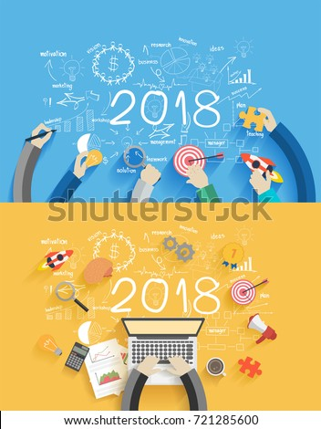 2018 new year business success creative drawing charts and graphs analysis and planning, consulting, team work, project management, brainstorming, research and development