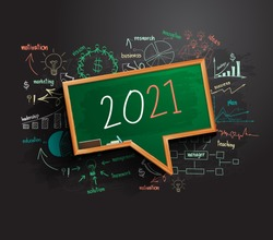 2021 new year business success strategy plan idea on speech bubbles blackboard, Creative thinking drawing charts and graphs, Vector illustration