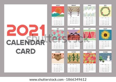 2021 new year calendar card