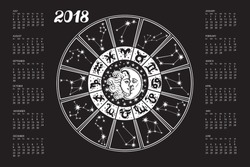 2018 new year Calendar.Horoscope Circle with Zodiac sign.Constellation,stars ,astrology symbols,moon,sun. Black background,gold silhouette.Holiday Vector  Illustration.