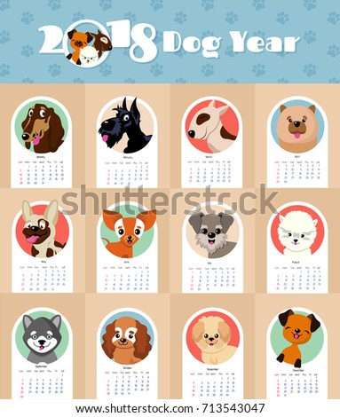2018 new year calendar with cute and funny puppy dogs chinese symbol vector template calendar