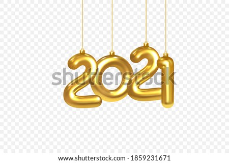 2021 New Year card. Christmas Decorations Hanging on a Gold chain Gold number 2021 on checkered background. Happy New Year Design Element Template. Realistic 3d Vector illustration