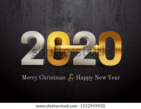 2020 new year card for real estate company. Happy new year 2020 concept with key and door lock. Realty. Vector illustration. Isolated on black wood texture.