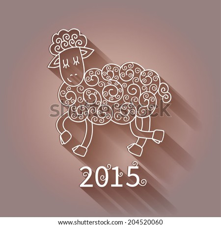 2015 new year card white sheep with shadow on pink background ornamental lace pattern